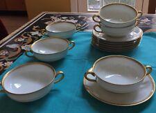 CA CHARLES AHRENFELDT DEPOSE LIMOGES 6 Gold Encrusted Bullion Cups/ 7 Saucers