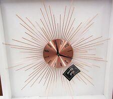 LINE STARBURST COPPER FINISH METAL WALL CLOCK - 85514