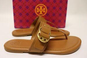 NIB $278 TORY BURCH Size 10.5 Women's Tan Calf Leather MARSDEN FLAT Thong Sandal