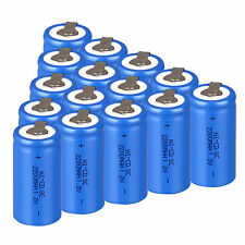Lot 15 PCS 1.2V NiCd Sub C SC 2200mAh Rechargeable Battery With Tape -- Blue