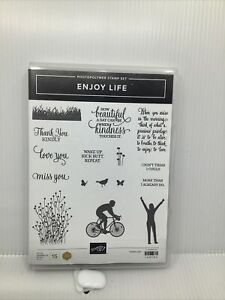 Stampin Up Retired ~ENJOY LIFE~ Stamp Set, Bike, Field, miss you, love you,