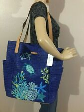 Vera Bradley North South Straw Beach Tote Classic Navy Turtles Cute