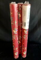 Lot Of 3 New Rolls Thibaut Floral Wallpaper 56.37 Sq ft.ea. T-2629 Red- Rare!