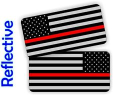 Reflective Firefighter American Flag Hard Hat Stickers | Helmet Decals Red Line
