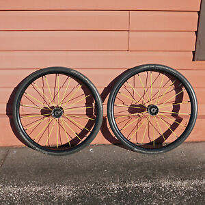 Pair (2) Two Black and Yellow Spinergy Marathon Plus Schwalbe Wheelchair Wheels