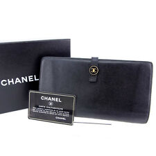 Chanel Wallet Purse Folding wallet Coco Button Black Woman Authentic Used Y253