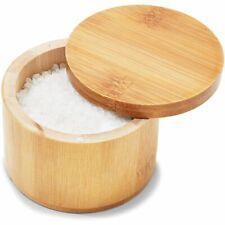 "Round Bamboo Salt Box, Spice Herb Dry Storage Box Container Swivel Lid 3.5""x2.8"""