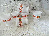 6 Vintage Retro 70's Arcopal French Pyrex Scania Flower Design Egg Cups Kitsch