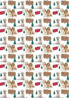 Yellow Labrador Puppy Dog in the Snow Christmas gift wrap 6 sheets & 6 tags