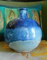 Dennis Collins Blue Drip Glaze Stone Pottery Vase signed '95