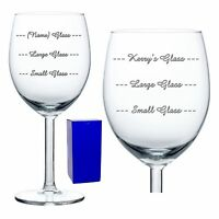 Personalised Engraved Wine Glass Small Large Glass Measures Birthday Gift Boxed