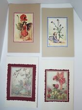 4 Blank Handmade Greeting Cards Fairies Flowers All Occasion Includes Envelopes