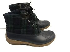 Sperry Top-Sider QUARTER Blue Wool/Rubber Lace Up Rain Boots Women's Size 7:5 M