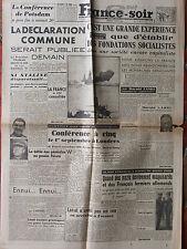 France Soir n°346 (3 août 1945) Déclaration commune - Fondations socialistes -