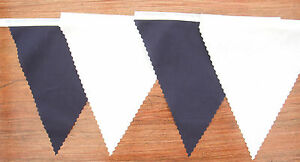 Fabric Bunting Navy Blue & white Wedding Party Celebrate Decoration 4mt or more