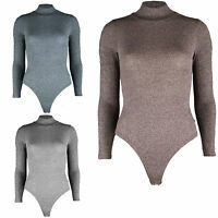 Ladies Fine Ribbed Knitted Polo Turtle Neck Long Sleeve Bodysuit Leotard Stretch