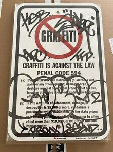 COPE2 Graffiti is Against the Law - Bronx Legend -- Paint on Street Sign 1/1 OG