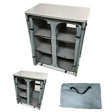 LIGHTWEIGHT ALUMINIUM COLLAPSIBLE CAMPING CUPBOARD KITCHEN with CARRY BAG