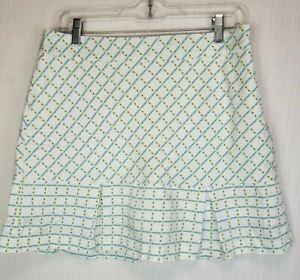 "Lady Hagen black/blue/green/white plaid print side-zip golf skort Sz 8 W32"" L17"""
