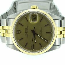 TUDOR Prince Oyster Date ROTOR 18k Yellow Gold Bezel Self Winding 74033 Watch