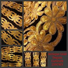 9 Meter Fancy Golden Zari Sequin Trim Saree Border Crafting Sewon Cutwork Lace