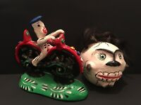 Vintage Mexican Day of the Dead Skeleton Motorcycle Rider & Skull Wall Mask