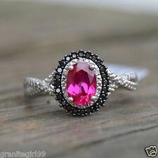 Created Ruby & Black Diamond Halo Wedding Engagement Ring 10k White Gold Sz 7