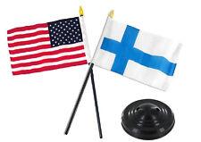 """Finland w/ USA American Flag 4""""x6"""" Desk Set Table Stick Black Base"""