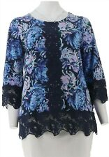 Isaac Mizrahi Printed Tunic Laces Blue L # A300884