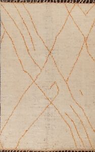 Ivory/ Orange Trellis Moroccan Oriental Area Rug Hand-knotted Wool Carpet 5x8 ft