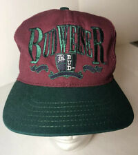 Budweiser Bud Embroidered Maroon Green Ball Cap Snap Back Adjustable