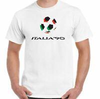 Italia 90 T-Shirt Football Mens Retro 1990 World Cup Retro Top Logo Kit Italy