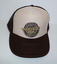 HARD ICED TEA Adjustable Trucker Hat American Vintage Cap Brown Tan Mesh NEW