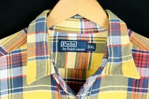 Polo Ralph Lauren Mens Sz XL Yellow Plaid Btn Up Flannel Pocket Shirt