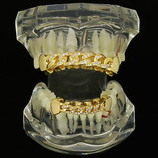 18K Gold Plated HQ Fully CZ Cuban Style Top & Bottom GRILLZ Mouth Teeth Grills