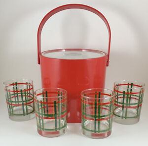 Georges Briard 5 Piece Set 4 Plaid Double Old Fashioned Glasses + Red Ice Bucket