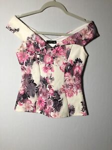 jane norman Womens White Floral Blouse Top Size 8 Sleeveless Good Condition