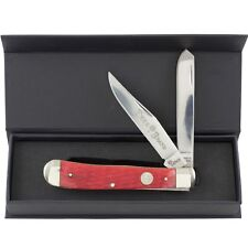 Boker Tree Brand Red Jigged Bone Trapper Pocket Knife 2 Folding Blades #110747