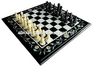 Marble Custom Chess Side Table Top Mosaic Inlay Fine Home Interior Decor H4515