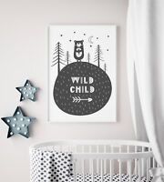 Wild Child Scandi Style Nursery Print / Picture For Boys Room / Bedroom Playroom