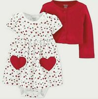 NWT Carters Baby Girl Metallic SWEATER Cardigan Holiday Party NB//6//9 Silver//Red
