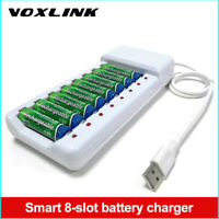VOXLINK charger with USB output, 8 slots AA AAA charger rechargeable batteries