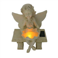 Girl Fairy Statue On A Bench With Solar  40cm Decorative Garden Ornament
