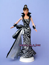 Audrey Hepburn Barbie Doll Black Silver Ball Gown Celebrity Redress NO BOX OOAK