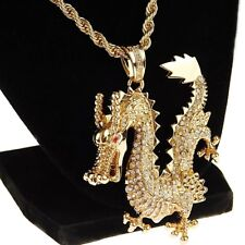 Mens Dragon Chain Iced-Out Pendant Bling Gold Finish Hip Hop Rope Necklace 30""