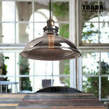 Pendant Light Industrial Style in Brass Metal with Smoke Glass