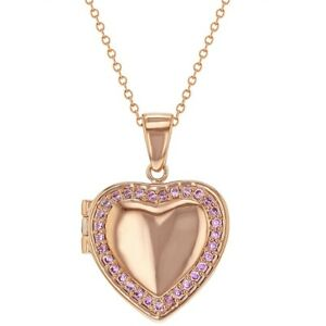 """Rose Gold Plated Pink CZ Heart Shaped Locket Necklace Pendant for Girls 19"""""""