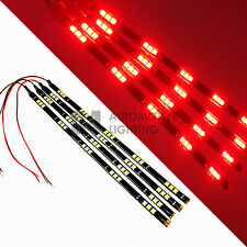 """4x Red 12"""" Flexible LED Strip Light 15 SMD 5050 Waterproof for Car Truck Boat"""