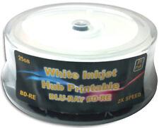25-Pak 25GB WHITE INKJET HUB PRINTABLE 2X BLU-RAY BD-RE's in Cakebox