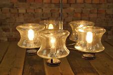 60er Vintage XXL Deckenlampe Kronleuchter Lampe Leuchte Chrom Glas 5flg 70er
